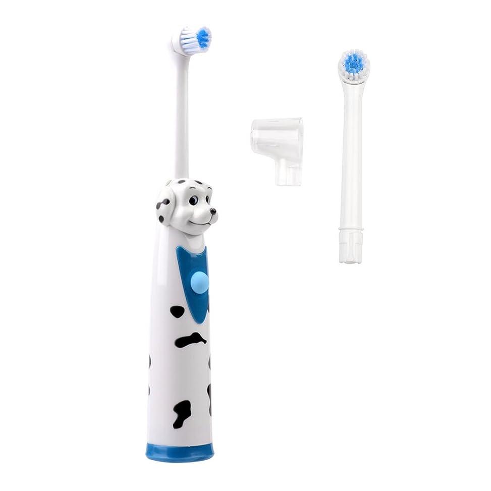 採用脚クリーム(inkint)電動歯ブラシ 子供用 かわいいキャラクター 交換用ブラシ付 操作簡単 犬さんブラシ ワンちゃん かわいい 歯ぐきを傷つけない ホワイト