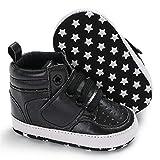 WanXingY Hook and Loop Casual Baby Shoes 0-18mpu Transpirable Solid Principiante Cuna Botas cálidas Zapatos Deportivos Antideslizantes (Color : 0 6 Months, Size : Negro)
