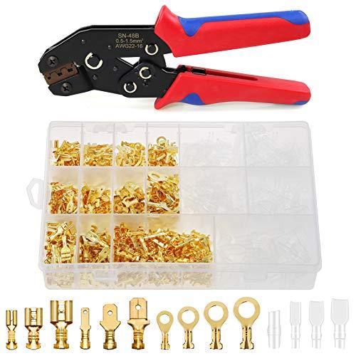 Laixin Crimpzange Flachsteckhülsen Kit, SN-48B [0,5-1,5mm²] Crimpwerkzeug mit 2,8/4,8/6,3 mm männlich weibliche Flachsteckhülsen & Isolierhülse Sleeve