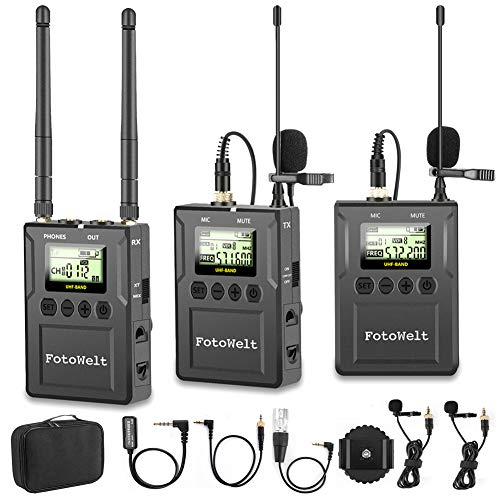 Fotowelt UHF 100 Canales Micrófono Profesional Inalámbrico Compatible con Cámaras/Videocámaras/Teléfonos DSLR Utilizados en Grabación de Video, Programación de Alojamiento de Programas y Entrevista