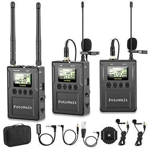 Fotowelt UHF 100 Canales Micrófono Profesional Inalámbrico Compatible con Cámaras/Videocámaras/Teléfonos DSLR Utilizados...