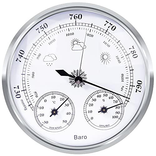 Wetterstation Analog, Wetterstation Analog für Innen und Außen Besteht aus Barometer, Thermometer und Hygrometer, Geeignet für Garten, Schlafzimmer, Outdoor, Gut Ablesbar (Weiß)