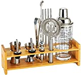 EPYFFJH Kit de Mezcla de camareros, Barra de Casas Profesional con Soporte de Madera - Coctel de Vidrio Accesorios para Bares de Bares en el hogar Bricolaje