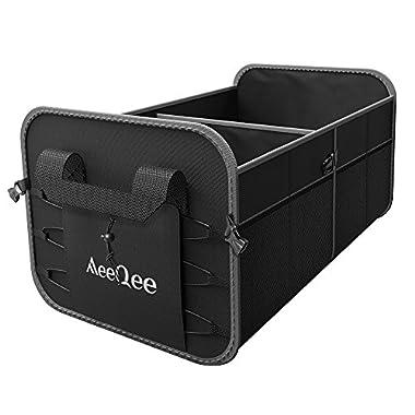 MeeQee Auto Organizers Storage, Premium Car Trunk Organizer Non-Slip Bottom Handles, Collapsible, Heavy Duty Waterproof Cargo/Groceries Storage Box Minivan Truck/Sedan