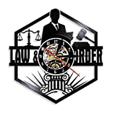ZZLLL Balance de la Justice Avocat Bureau Salle d'audience décor Avocat Horloge Murale Avocat Vinyle Disque Horloge Murale Ordre de la Loi Passer Le Cadeau de Bar