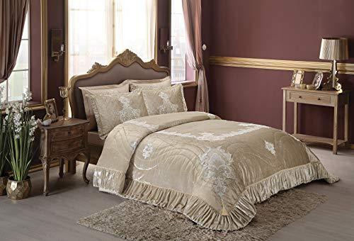 Tac Empire Cappucino Tagesdecke für Doppelbett, 1 Tagesdecke, 2 Stück, Schwungradkissen, 50 x 70 cm