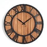 QVIVI Reloj De Pared De Madera con Marco De Hierro, Relojes