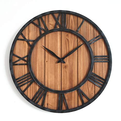 QVIVI Reloj De Pared De Madera con Marco De Hierro, Relojes De Pared De Estilo Rústico Rústico Vintage Americano, Reloj De Pared Mudo Decorativo para Sala De Estar Los 45 * 45cm