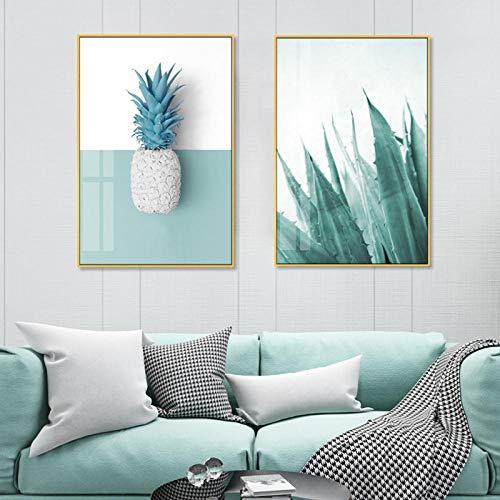 xwwnzdq 2 stks Moderne Munt Groene Ananas Planten Prints Nordic Wall Art Canvas Schilderijen POP Poster Foto's voor Woonkamer Home Decoratie