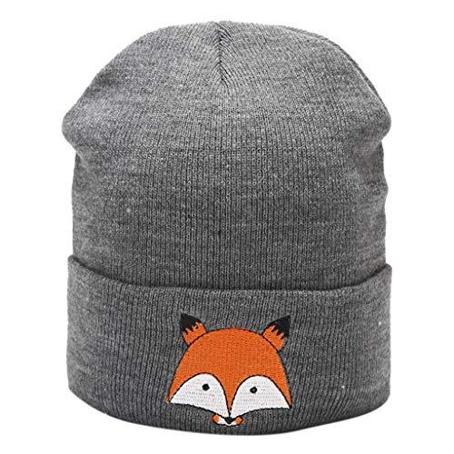 VAILANG Männer und Frauen Frühling Winter Warme Häkelstrick Schöne Weiche Mütze Fuchs Hüte Dunkelgrau