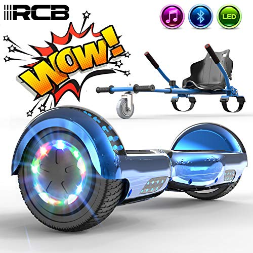 RCB Electric Scooter Self-Balancing Scooter with Hoverkart Go-Kart Built in LED lights Bluetooth Speaker Hover Scooter Board 6.5'' Gift for Kids and Adult