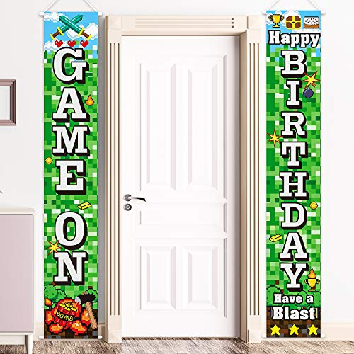 Pixelated Party Decorations Video Game Sign, Pixelated Happy Birthday Banners Gamer Birthday Party Video Game Backdrop Block Game Night Decoration for Pixelated Video Game Party Supply