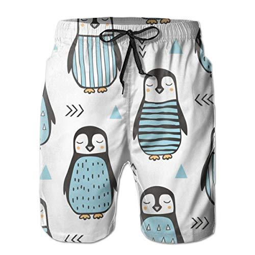 Pinguine Mit Pullover Geometrisch Und Dreiecke Blau Auf White_332Herren Summer Beach Shorts, XL,Bunter, langlebiger Polyester-Surf-Skate-Strand