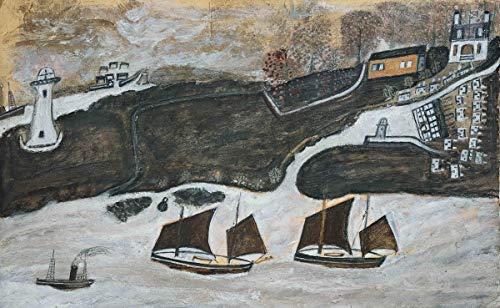 Alfred Wallis Giclee Kunstdruckpapier Kunstdruck Kunstwerke Gemälde Reproduktion Poster Drucken(Zwei Schiffe und Dampfer Segeln vorbei an einem Port Falmouth und St. Anthony Lighthouse) #XZZ