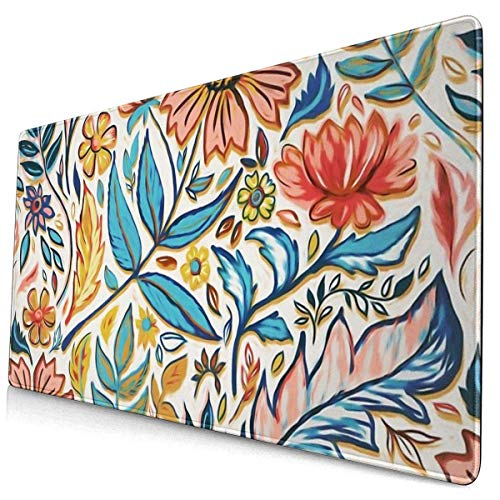 Neuheit Mouse Pad Lebendige bunte Jugendstil Blumen Extended Gaming Laptop Computer Schreibtisch Büro Schwarze Matte Glatte Dicke Genähte Kante Rutschfest XXL Lang