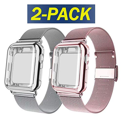 ADWLOF Compatible for Apple Watch Band 38mm Screen Protector Case, Sports Wristband Strap Replacement Band with Protective Case Compatible for iWatch Series 3/2/1,Rose Gold/Silver