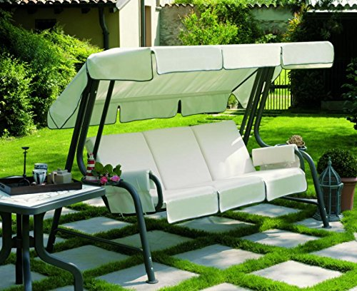 Ideapiu Balancelle de Jardin, Bascule avec imbottiturarivestita en Tissu Blanc, balancelle 4 Places, Bascule