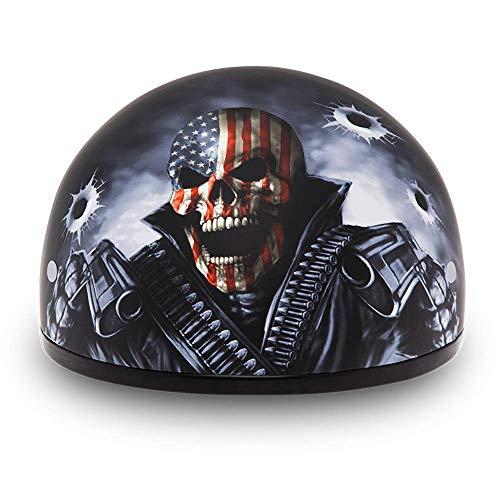 Daytona Helmets Motorcycle Half Helmet Skull Cap- Come Get 'Em 100% DOT Approved