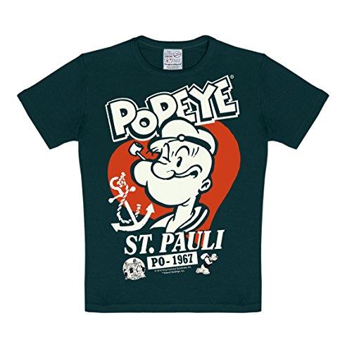 Logoshirt Popeye el Marino - St. Pauli Camiseta para niño - Negro - Diseño Original con Licencia