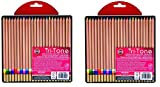 Koh-I-Noor Tri-Tone Multi-Colored Pencil Set, 24 Assorted Colors in Tin and Blister-Carded (FA33TIN24BC) (48 Pencils, Assorted)