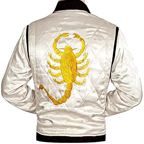Movie Drive Scorpion Ryan Gosling Embroidered Mens Trucker Bomber Satin Jacket (XL)