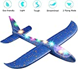 """ANG® Toy Set of 1 - 17.5"""" Large Throwing Foam Plane with Led"""