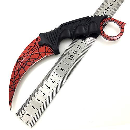 Klappmesser Outdoormesser Einhandmesser Taschenmesser Schraubendreher Jagdmesser Knife Gürteltasche aus Edelstahl für Jagdcamping Feld-Überleben (RedSpiderWebBlade)
