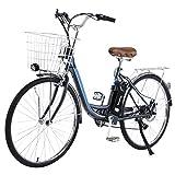 TDHLW Bicicleta Eléctrica de 26'/ 27.5' 36V 350W para Adultos, Bici Eléctrica Retro de Ciudad con Canasta, Ebikes de Cercanías con 10 A Extraíble Litio Batería, luz Delantera LED,26in