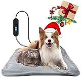 Vorrot Haustier Heizmatte, Heizkissen für Hund Katze, Wasserdicht Heizdecke Timing Temperatur Einstellbar, 50x50cm Elektrisch Wärmematte für Neugeborene/Altere Haustiere