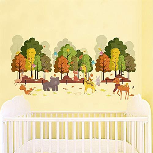 Animaux Heureux Arbre Stickers Muraux Pour Chambre D'Enfant Chambre Décoration Deer Fox Girafe Safari Murale DIY PVC Home Stickers Accessoires