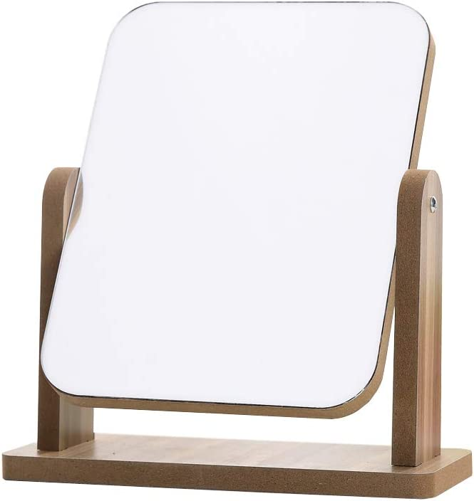 Makeup Mirror with Natural Wood Portable Cheap Desk Counte Stand Max 66% OFF Table