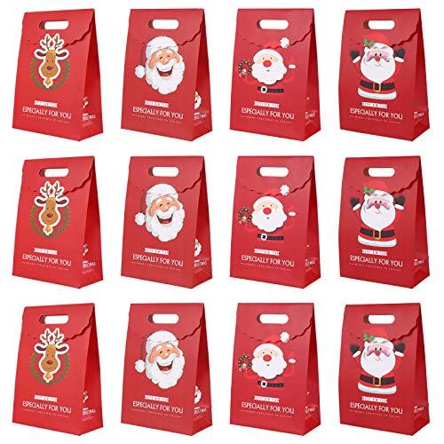Cabilock 12 Stück Weihnachtsbonbons Geschenk Aufbewahrungstaschen Bonbon Papiertüten Party Leckereien Taschen