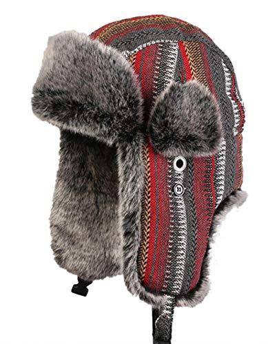 Insun Unisex Chapka Anti Vent Casquette d'hiver Chapeaux avec Bordure en Fourrure Bonnet de Russie Rayure Rouge Gris XXL Chapkas circonférence 60cm