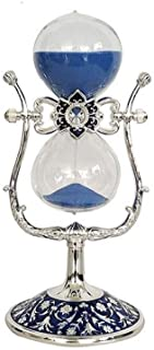 HWZBH Hourglass Timer Metal Glass Silver Edge Blue Sand Home Kitchen Office Decoration Pretty (Color : Metallic)