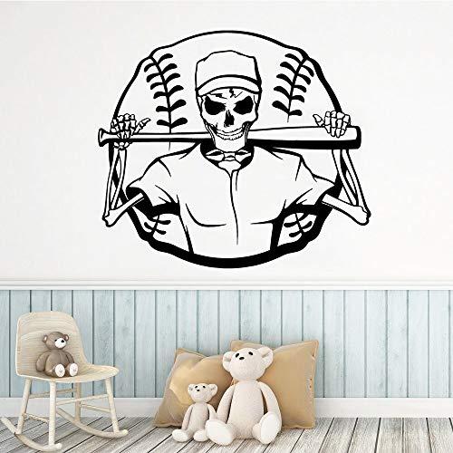 XCSJX Cráneo Arte de la Pared calcomanía Etiqueta de la Pared Material para la decoración del hogar Sala de Estar Dormitorio decoración del Partido en casa Papel Tapiz 44x51 cm