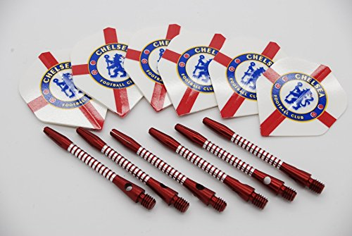 Chelsea FC Standard Form Dart Aluminium-Dartpfeile und Flights Stiele 4 flights / 4 stems medium - 48mm
