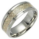 Y-YING サージカル ステンレス 暗闇 で 光る 蓄光 メンズ リング 指輪 結婚 指輪 かっこいい 男性用指輪 ゴールデン ドラゴンデザイン