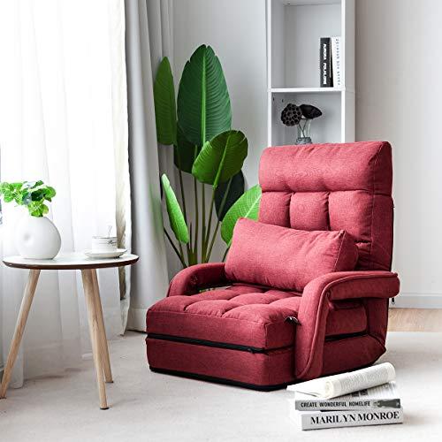 COSTWAY Poltrona Divano, Sedia da Terra con Braccioli e Cuscino, 5 Livelli Regolabili, Multifunzione e Pieghevole, 70 x 56 x 54 cm, Bianco/Rosso/Blu (Rosso)