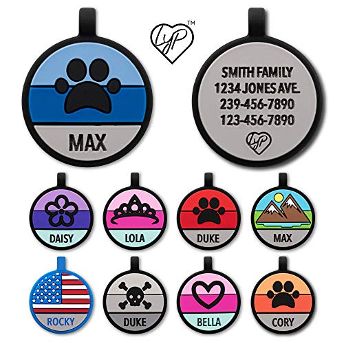 Love Your Pets Soundless Pet Tag - Designer Deep Engraved Silicone – Double Sided and Engraving Will Last - Many Design Choices of Pet ID Tags, Dog Tags, Cat Tags (Blue, Paw)