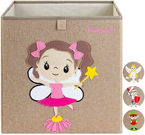 Flöckchen Kinder Aufbewahrungsbox, Spielzeugbox für Kinderzimmer I Spielzeug Box (33x33x33) passt ins Kallax Regal I Kinder Märchen Motiv (Fiona die Fee)