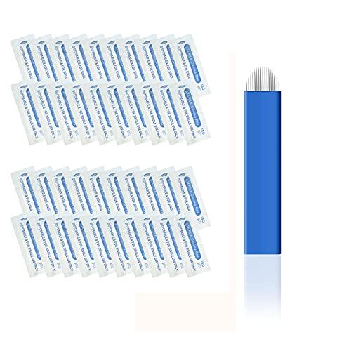 Pinkiou 50Pcs aghi per tatuaggio sopracciglia acciaio inox monouso per penna microblading (18U)