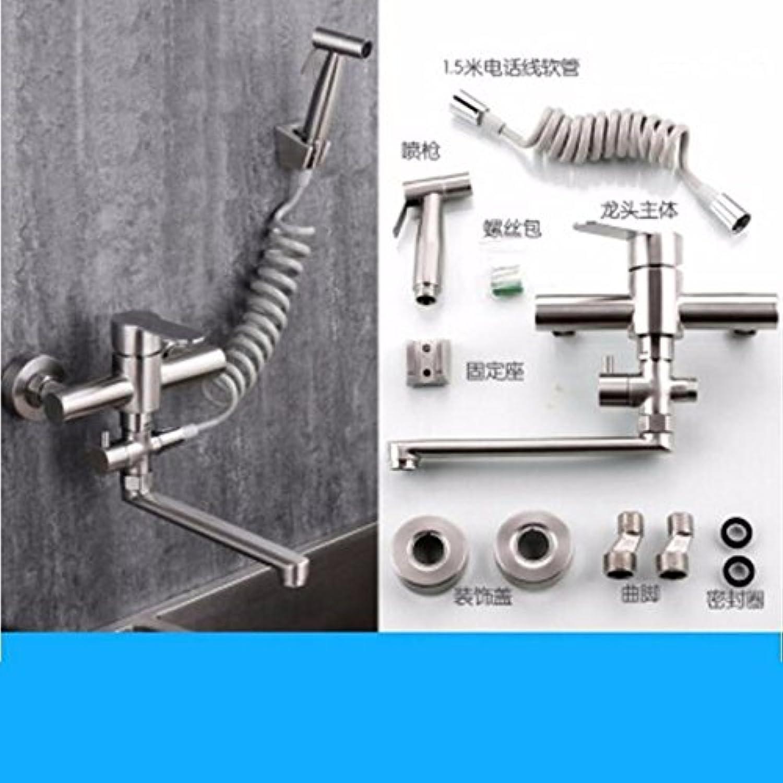 Küche oder Badezimmer Waschbecken Mischbatterie für die Wandmontage Leitungswasser 304 Edelstahl kalt Water-Pull-Spritzpistole Gericht Washing-Tub Wscheservice Pool Wasser Steckplatz A