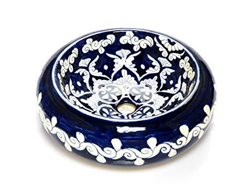 Felisa - Mexicaanse ronde opzetwastafel | 40 cm keramiek Talavera wastafel uit Mexico | Kleurrijke decoratieve motieven | Ideaal voor de badkamer met houten look tegels, cementtegels, rustieke onderkast