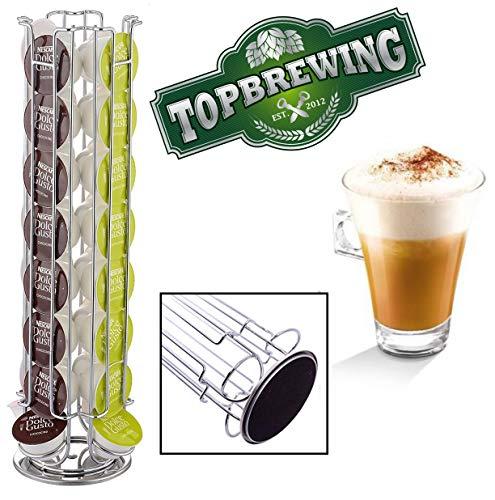 TopBrewingTM Dolce Gusto - Portabottiglie da caffè a torre può contenere 32 capsule ✰ girevole base/