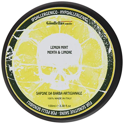 THE GOODFELLAS\' SMILE Lemon Mint traditional shaving soap. Made in Italy, 100 g