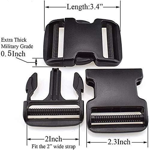 Best Price Dual Adjustable Quick Side Release Buckles Clips Snaps 2'' Wide Plastic Buckles(Black) 2 ...