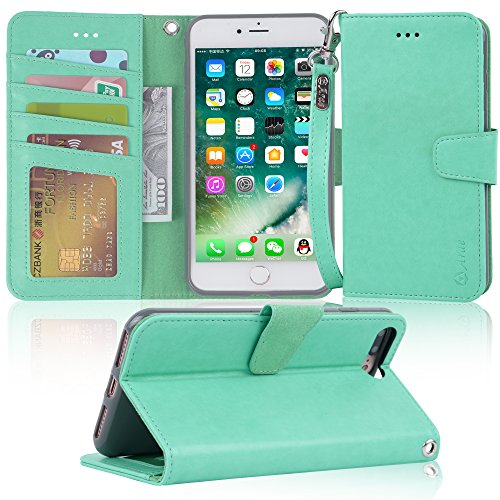 Arae Case for iPhone 7 Plus/iPhone 8 Plus, Premium PU Leather Wallet Case with Kickstand and Flip Cover for iPhone 7 Plus (2016) / iPhone 8 Plus (2017) 5.5 inch - Green