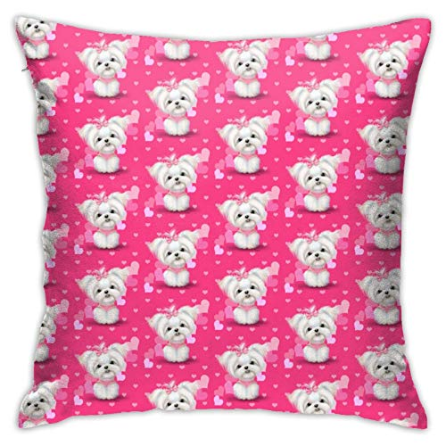 Maltese Pink Hearts PrintSofa Bed Bedroom Pillowcase Square Pillow Case 18inch×18inch White