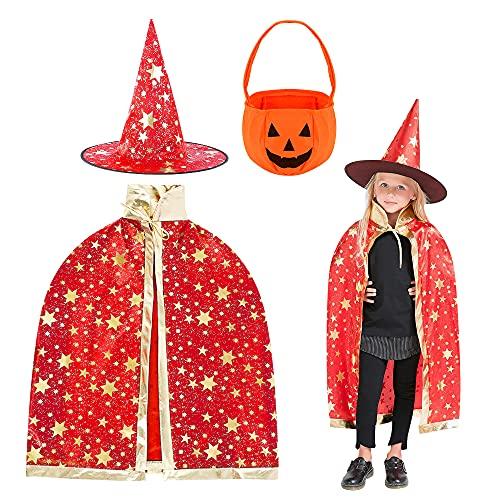 Wishstar Disfraz de Mago de Halloween para Niños, Capa de Brujas, Capa de Estrella con Sombrero, Bolsa de Caramelo de Calabaza, Fiesta de Cosplay de Halloween de Niño Niña(Rojo