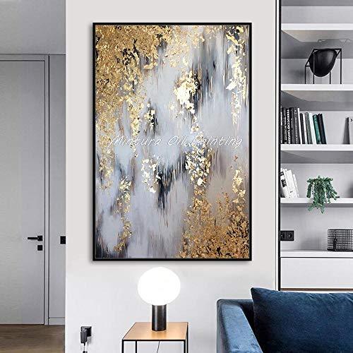 Liangzheng 60x90cmx1 Pinturas al óleo pintadas a Mano sobre Lienzo Lámina Dorada Pintura Abstracta Cuadro de Pared para Sala de Estar Decoración del hogar Arte sin Marco